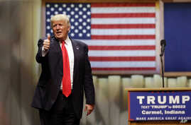 Republican presidential candidate Donald Trump speaks during a rally at The Palladium in Carmel, Indiana, May 2, 2016.
