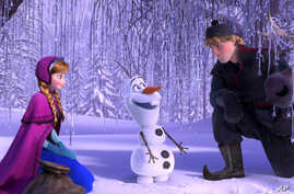 """This image released by Disney shows, from left, Anna, voiced by Kristen Bell, Olaf, voiced by Josh Gad, and Kristoff, voiced by Jonathan Groff in a scene from the animated feature """"Frozen."""" (AP Photo/Disney)"""