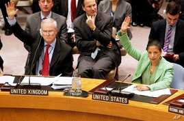 Permanent representatives from the United Kingdom, Mark Lyall Grant, left, and the United States, Susan Rice, right, vote to approve a resolution that will impose a no-fly zone over Libya during a meeting of the United Nations Security Council at UN