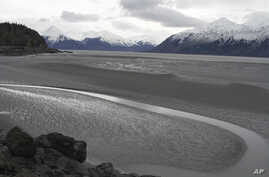FILE - In this March 7, 2016, photo, a ribbon of water cuts through the mud flats of Cook Inlet, just off the shore of Anchorage, Alaska. Natural gas is bubbling up from an underwater pipeline in Alaska's Cook Inlet, discovered on Feb 7, 2017, when a
