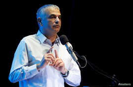 Israeli Finance Minister Moshe Kahlon gestures as he speaks at an event in Ofakim, southern Israel May 29, 2017
