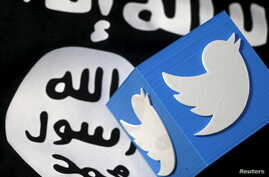 "FILE - A 3-D printed logo of Twitter and an Islamic State flag are seen in this picture illustration taken Feb. 18, 2016. Radicals in the West ""use colleges, mosques, media outlets and social media sites to radicalize people,"" one researcher on Islam"