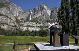 President Barack Obama speaks by the Sentinel Bridge, in front of the Yosemite Falls, the highest waterfall in Yosemite National Park, Calif., June 18, 2016.