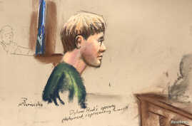 Dylann Roof, who is facing the death penalty for the hate-fueled killings of nine black churchgoers, makes his opening statement at his trial in this courtroom sketch in Charleston, South Carolina, Jan. 4, 2017.