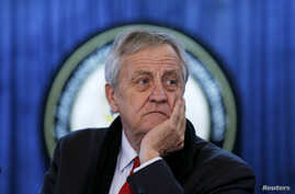 FILE - Nicholas Haysom, then the head of the U.N. Assistance Mission in Afghanistan, listens to a question during a news conference in Kabul, Afghanistan, Feb. 14, 2016.