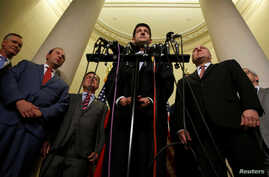 U.S. House Speaker Paul Ryan and House Republican Whip Steve Scalise (R-LA) introduce Representative Steve Stivers (R-OH), Representative Jason Smith (R-MO) and Representative Luke Messer (R-IN) as new members of the House Republican leadership team ...
