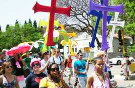 Many opponents of homosexuality say being gay is anti-Christian … But many gays, including these protesting in South Africa, say they're Christians as well