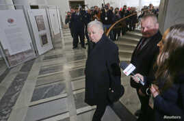 Leader of the Law and Justice party Jaroslaw Kaczynski arrives at the Sejm, the lower house of parliament in Warsaw, Poland, Jan. 9, 2017.