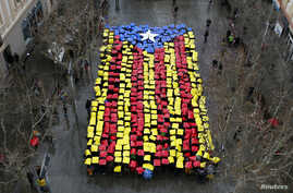 People hold placards to form a giant Catalan flag in front of Sant Feliu townhall, near Barcelona February 16, 2014.