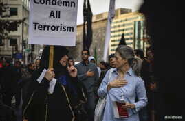 American Shi'ite Muslims march to the White House to protest against the Islamic State group, in Washington, D.C., Dec. 6, 2015.