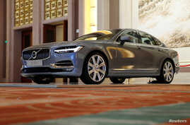 A Volvo S90 is displayed at a panel discussion about self-driving cars at Diaoyutai State Guesthouse in Beijing, China, April 7, 2016.