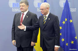 European Council President Herman Van Rompuy (R) welcomes Ukraine's President Petro Poroshenko (L) as he arrives at the EU council in Brussels, Aug. 30, 2014.