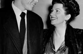FILE - Singer Frank Sinatra and his wife Nancy smile broadly as they leave a Hollywood night club following a surprise meeting, Oct 23, 1946. Nancy Sinatra Sr., the childhood sweetheart of Frank Sinatra has died. She was 101.