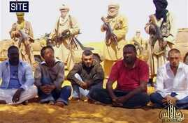 Images of a group of foreign hostages working for a French energy company who were seized in Niger (file)