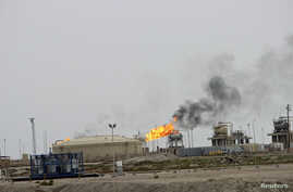 General view of West Qurna oilfield in southern Basra, Iraq, Oct. 13, 2014.