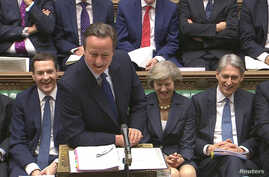 Britain's outgoing Prime Minister, David Cameron, speaks during Prime Minister's Questions in the House of Commons, in central London, Britain in this still image taken from video, July 13, 2016.