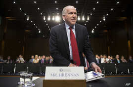 CIA Director John Brennan arrives on Capitol Hill in Washington, June 16, 2016, to testify before the Senate Intelligence Committee hearing on the Islamic State.