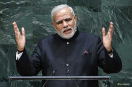 India's Prime Minister Narendra Modi addresses the 69th United Nations General Assembly at the U.N. headquarters in New York, Sept. 27, 2014.