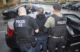 This photo released by U.S. Immigration and Customs Enforcement shows foreign nationals being arrested during a targeted enforcement operation aimed at immigration fugitives, re-entrants and at-large criminal aliens in Los Angeles, Feb. 7, 2017.