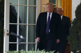 FILE - President Donald Trump walks out of the Oval Office of the White House Jan. 4, 2019, in Washington, as Vice President Mike Pence follows.