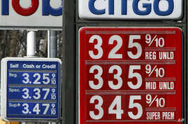 Gas prices are seen in Montpelier, Vermont, February 23, 2011