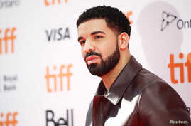 """Rapper Drake arrives on the red carpet for the film """"The Carter Effect"""" at the Toronto International Film Festival (TIFF), in Toronto, Canada, Sept. 9, 2017."""