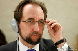 Zeid Ra'ad Al Hussein, U.N. High Commissioner for Human Rights attends the 34th session of the Human Rights Council at the European headquarters of the United Nations in Geneva, Switzerland, Feb. 27, 2017.