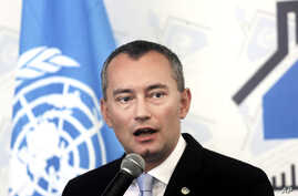 United Nations Special Coordinator for the Middle East Peace Process Nickolay Mladenov, speaks during a press conference in Gaza City, Feb. 17, 2016.