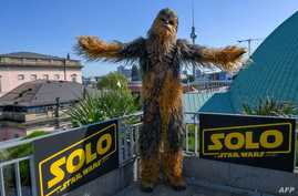 A person dressed as Chewbacca of Star Wars poses during a promotional event to present the film «Solo: A Star Wars Story» by US director Ron Howard  on May 4, 2018 in Berlin.