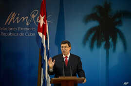 Cuba's Foreign Minister Bruno Rodriguez speaks during a press conference in Havana, Cuba, Thursday, March 6, 2014.