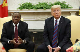 President Donald Trump sits with Kenyan President Uhuru Kenyatta in the White House, Aug. 27, 2018, in Washington.