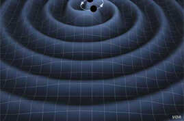 An artist's impression of two black holes circling each other, creating gravitational waves