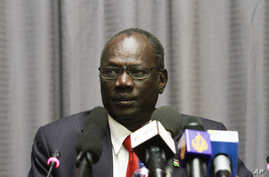 South Sudanese information minister, Michael Makuei Lueth attends a press conference in Addis Ababa, Jan. 5, 2014.