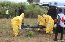 Health workers carry the body of an Ebola virus victim in the Waterloo district of Freetown, October 21, 2014. Authorities in Sierra Leone imposed a curfew in the eastern town of Koidu on Tuesday after a dispute between youth and police over a suspec