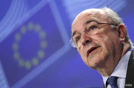 European Union Competition Commissioner Joaquin Almunia during a news conference at the EU Commission headquarters in Brussels, Feb. 20, 2014.