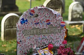 """The grave of women's suffrage leader Susan B. Anthony is covered with """"I Voted"""" stickers left by voters in the U.S. presidential election, at Mount Hope Cemetery in Rochester, New York, November 8, 2016."""