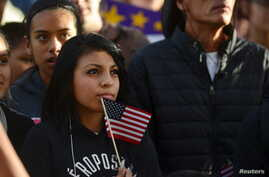FILE - Latino leaders and immigration reform supporters gather on University of Colorado campus to launch a 12-month voter registration campaign to mobilize Colorado's Latino, immigrant and allied voters, Oct. 28, 2015.
