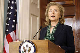 Secretary of State Hillary Clinton makes a statement regarding the death of Osama bin Laden, May 2, 2011, at the State Department in Washington