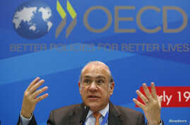 Angel Gurria, secretary-general of the Organisation for Economic Co-operation and Development (OECD), gestures during a news conference, part of the G20 finance ministers and central bank governors' meeting, in Moscow, Russia, July 19, 2013.
