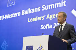 European Council President Donald Tusk speaks during a media conference prior to an EU-Western Balkans summit at the National Palace of Culture in Sofia, Bulgaria, May 16, 2018.