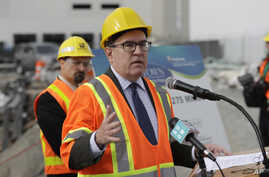 Andrew Wheeler, the U.S. Environmental Protection Agency's Acting Administrator, talks to reporters, Oct. 3, 2018, after touring the Georgetown Wet Weather Treatment Station in Seattle.