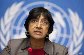 UN High Commissioner for Human Rights Navi Pillay addresses a news conference at the European headquarters of the United Nations in Geneva (File Photo).