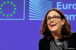 European Trade Commissioner Cecilia Malmstrom holds a news conference at the EU Commission headquarters in Brussels, Belgium, Nov. 9, 2016.