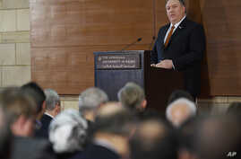 Secretary of State Mike Pompeo speaks to students at the American University Cairo, in the eastern suburb of New Cairo, Egypt, east of the capital, Jan. 10, 2019.