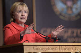 Former Secretary of State Hillary Clinton speaks at Georgetown University in Washington, March 31, 2017, on the important role that women can play in international politics and peace building efforts.