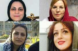 Rights groups say an Iranian court has sentenced four minority Dervish women to 5-year prison terms for involvement in an anti-government protest in Tehran in February. They are, clockwise from top left: Shima Entesari, Nazila Nouri, Avisha Jalaleddi