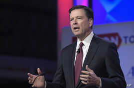 FBI Director James Comey speaks to the Anti-Defamation League National Leadership Summit in Washington, Monday, May 8, 2017.