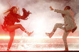 """FILE - Beyonce performs """"Freedom"""" with Kendrick Lamar at the 2016 BET Awards in Los Angeles, California, US, June 26, 2016."""