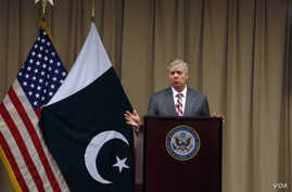 U.S. Republican Senator Lindsey Graham gives a press conference at the U.S. Embassy after meeting with Pakistani Prime Minister Imran Khan, in Islamabad, Pakistan, Jan. 20, 2019.