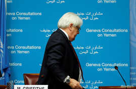 U.N. envoy Martin Griffiths leaves after a news conference on Yemen talks at the United Nations in Geneva, Switzerland, Sept. 8, 2018.